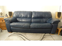 3 Seater Leather Navy Sofa - Used - Fair Condition