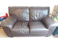 Two 2-seater brown leather sofas - free for collection!
