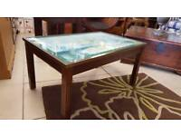 Solid Wood & Glass Coffee Table With Battle Of Trafalgar Print