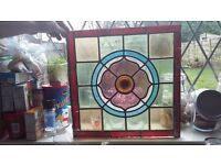 "2 genuine vintage leaded stain glass windows (flower design bullseye middle) size 15.5"" x 15.5"""