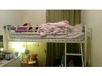 Mid sleeper bed white metal