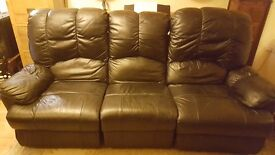 Leather 3 seater recliner sofa - Bonded leather, approximately 3 years old.