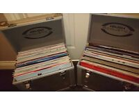 Joblot of dj vinyl's with two steel crates also a pair of stylus