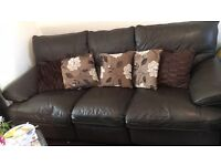 **FREE** BROWN LEATHER 3 SEATER RECLINER