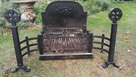 Cast Iron Fire Basket with Dogs