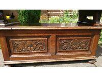Antique carved oak settle monks bench
