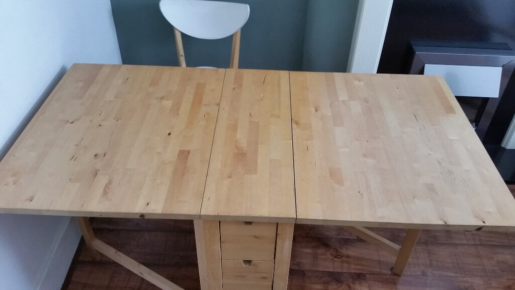 Fold Down Extendable IKEA Norden Dining Table For Sale