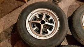 "MGB Rostyle wheels and tyres, 14"", good useable wheels and tyres"