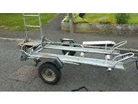 Erde double motorbike trailer, good condition. Comes with ramp & stand for easy storage