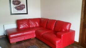 Corner sofa and armchair red leather from DFS