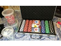 Poker chips, bicycle cards, carry case