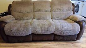 Harveys Recliner 3 seater fabric sofa/coffee table black/tv table black used