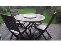 WICHESTER GARDEN TABLE AND 4 CHAIRS WITH PARASOL