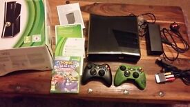 Xbox 360 with box 2 controllers and game