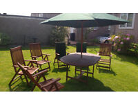 """6-Seater Teak """"Winchester"""" Garden Furniture Set complete with Cushions and Parasol"""