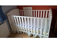 White cot bed with mattress - excellent condition