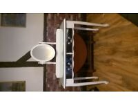 white dressing table 2 mirrored drawers glass topped see photo