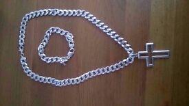 Men's Silver Necklace & Bracelet