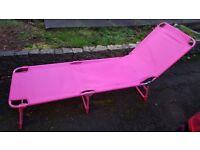 Pink Folding Sun Lounger