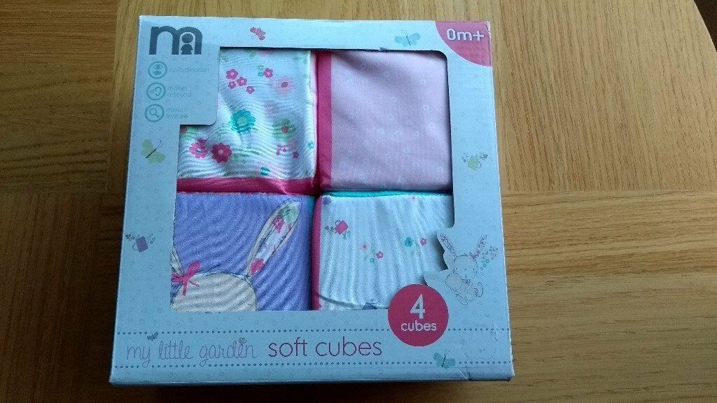 BNIB set of four Mothercare 'My Little Garden' soft cubes