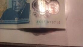 collectable rare £5 note AK45 rare bank of england new investment