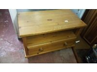 Pine TV Unit with 2 Drawers in Good Condition