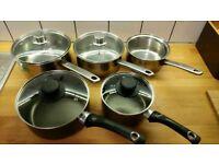 Stainless Steel Saucepan Set x5