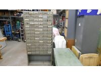 96 drawer metal storage unit 75 ins high x 36 ins wide x 12 ins deep. very heavy. can deliver