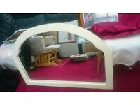 Large white oval mirror