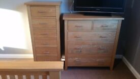 Tall boy chest of drawers solid wood