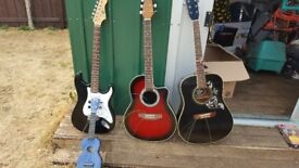 Various guitars for sale acoustic electric and ukelele