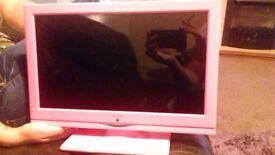 Alba small tv dvd player pink