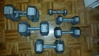 hexagon cast iron dumbells
