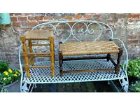 2 Wooden & Raffia seats/ stools - perfect for upcycling