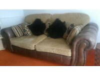 Leather and Fabric 3-Seater Sofa and 2 Armchairs