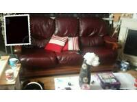 3&2 seater leather and wood sofas