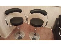 2 x Kitchen Bar Chairs/Stools - adjustable height