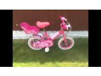 Pink Sweetie Bike with stabilisers and helmet. Excellent condition