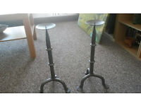 2 x Wrought Iron Candle Sticks