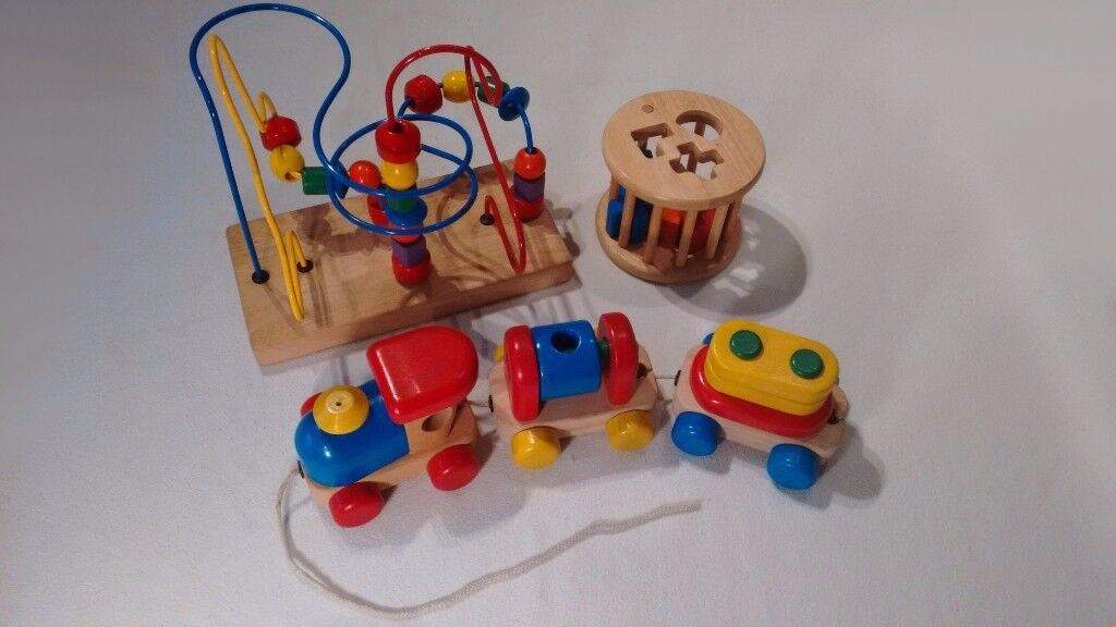 Wooden Toys- train, shape sorter, and bead maze.