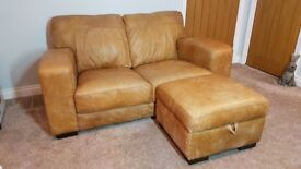 Natural leather sofa/armchair and storage footstall
