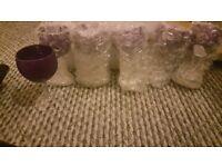 6 purple glitter wine glasses