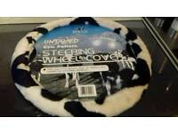 COW PATTERNED STEERING WHEEL COVER