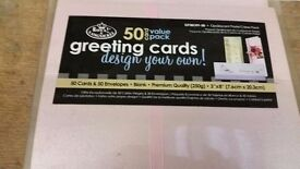 Greeting cards.Design your own !!! 50 card pack of white or opalescent great value