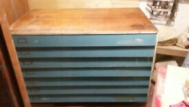 Wooden planchest A0 in two halves, good condition, top drawer needs a little TLC