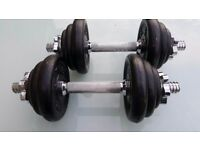 Threaded weight training bar plus 12 weights