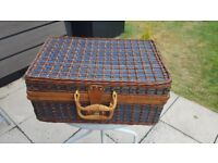 Wicker basket with picnic accessories