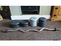 York fitness Tricurl Bar and Dumbbells