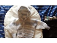 Hand made knitted boys hooded jacket coat cardigan 0-3 months NEW