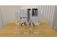 Habitat Joy Champagne Flute Glasses X 6. NEW. Boxed. 18.5cl. Unwanted Housewarming Gift Set. V nice!